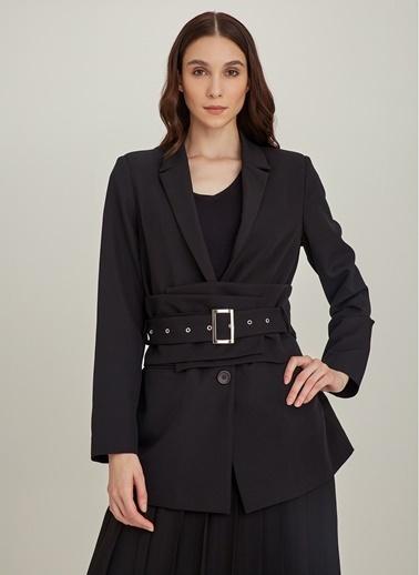 Ng Style Kuşgözlü Kalın Kemerli Ceket Siyah